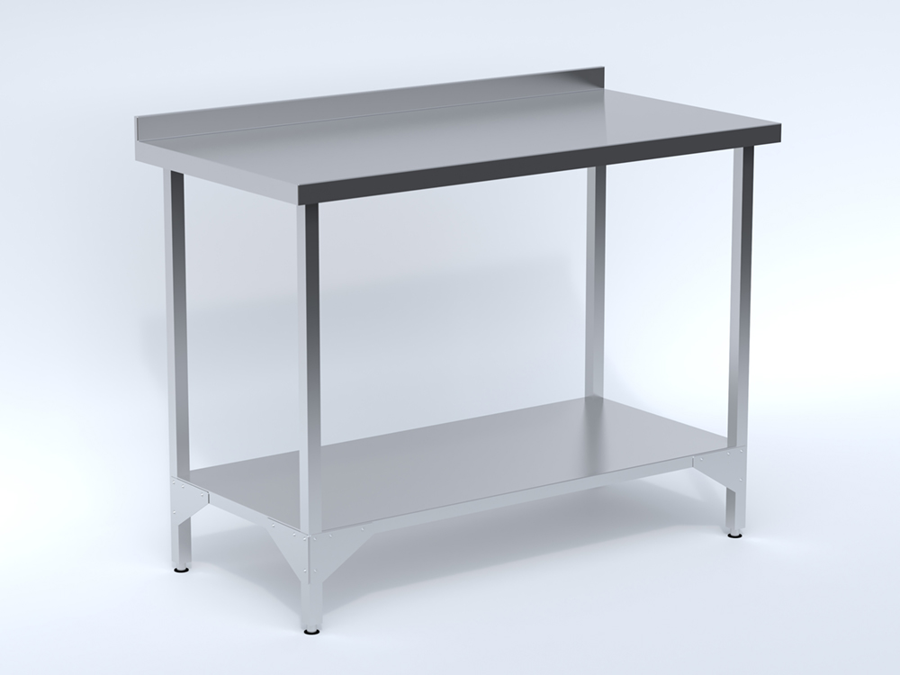 Stainless Steel Wall Table with Shelf